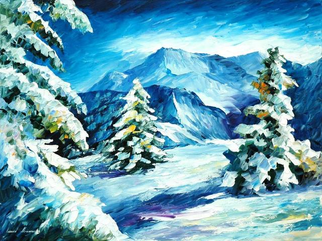 Above and Beyond by Leonid Afremov - 'Above and Beyond' is a scenic winter landscape by the Russian-Israeli artist Leonid Afremov, depicting beautiful spruce and fir trees on snowy mountain slopes.<br /> Leonid Afremov (1955-2019) was one of the most famous modern landscape painters, who has mastered the use of a palette knife and oils to create own an original and recognizable impressionistic style. - , above, beyond, Leonid, Afremov, art, arts, nature, natures, scenic, winter, landscape, landscapes, Russian-Israeli, artist, artists, beautiful, spruce, fir, trees, tree, snowy, mountain, slopes, slope, famous, modern, painters, painter, palette, knife, oils, oil, original, recognizable, impressionistic, style, styles - 'Above and Beyond' is a scenic winter landscape by the Russian-Israeli artist Leonid Afremov, depicting beautiful spruce and fir trees on snowy mountain slopes.<br /> Leonid Afremov (1955-2019) was one of the most famous modern landscape painters, who has mastered the use of a palette knife and oils to create own an original and recognizable impressionistic style. Solve free online Above and Beyond by Leonid Afremov puzzle games or send Above and Beyond by Leonid Afremov puzzle game greeting ecards  from puzzles-games.eu.. Above and Beyond by Leonid Afremov puzzle, puzzles, puzzles games, puzzles-games.eu, puzzle games, online puzzle games, free puzzle games, free online puzzle games, Above and Beyond by Leonid Afremov free puzzle game, Above and Beyond by Leonid Afremov online puzzle game, jigsaw puzzles, Above and Beyond by Leonid Afremov jigsaw puzzle, jigsaw puzzle games, jigsaw puzzles games, Above and Beyond by Leonid Afremov puzzle game ecard, puzzles games ecards, Above and Beyond by Leonid Afremov puzzle game greeting ecard