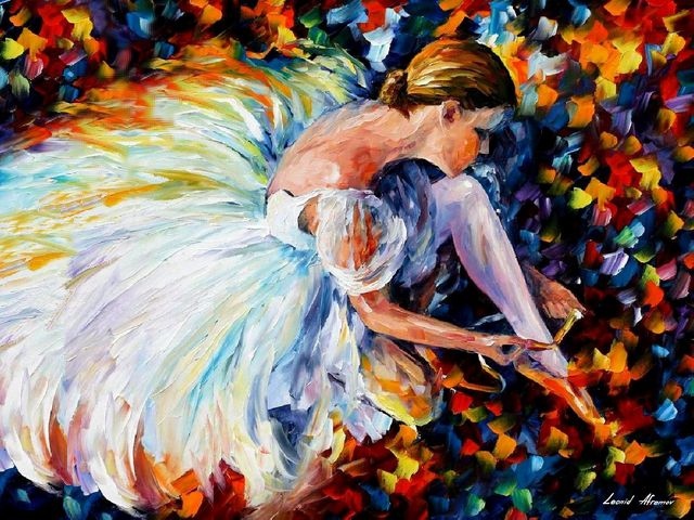 Ballerina by Leonid Afremov - 'Ballerina' is a beautiful oil painting on canvas by Leonid Afremov, depicting a young elegant girl behind the curtains, who is preparating with excitement for performance on stage. Dessed in a grace skirt, spread across the floorр she ties the ribbons of her ballet shoes.<br /> To convey the tension of the ballerina before entering the stage, together with the dark blue spots on the background, the artist uses bright colors of orange, yellow, blue and violet shades. - , ballerina, ballerinas, Leonid, Afremov, art, arts, beautiful, oil, painting, paintings, young, elegant, girl, girls, curtains, curtain, excitement, performance, stage, stages, grace, skirt, skirt, floor, floors, ribbons, ribbon, ballet, shoes, shoe, tension, blue, spots, spots, background, artist, artists, bright, colors, color, orange, yellow, violet, shades, shade - 'Ballerina' is a beautiful oil painting on canvas by Leonid Afremov, depicting a young elegant girl behind the curtains, who is preparating with excitement for performance on stage. Dessed in a grace skirt, spread across the floorр she ties the ribbons of her ballet shoes.<br /> To convey the tension of the ballerina before entering the stage, together with the dark blue spots on the background, the artist uses bright colors of orange, yellow, blue and violet shades. Solve free online Ballerina by Leonid Afremov puzzle games or send Ballerina by Leonid Afremov puzzle game greeting ecards  from puzzles-games.eu.. Ballerina by Leonid Afremov puzzle, puzzles, puzzles games, puzzles-games.eu, puzzle games, online puzzle games, free puzzle games, free online puzzle games, Ballerina by Leonid Afremov free puzzle game, Ballerina by Leonid Afremov online puzzle game, jigsaw puzzles, Ballerina by Leonid Afremov jigsaw puzzle, jigsaw puzzle games, jigsaw puzzles games, Ballerina by Leonid Afremov puzzle game ecard, puzzles games ecards, Ballerina by Leonid Afremov puzzle game greeting ecard