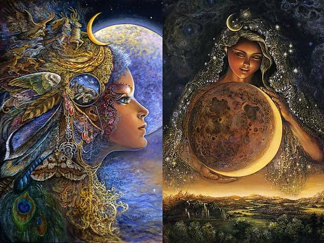 Diana and Moon Goddess by Josephine Wall - 'Diana' and 'Moon Goddess' are splendid paintings by the English fantasy artist Josephine Wall, depicting two charming goddesses.<br />