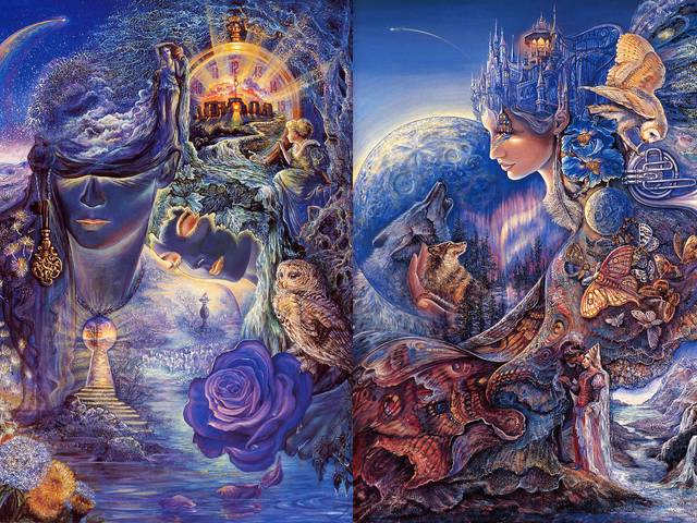 Key to Eternity and Once in a Blue Moon by Josephine Wall - The fantasies in the paintings by the English artist Josephine Wall, give freedom and wings of our imagination. They are influenced and inspired by the illustrations of Arthur Rackham, the surrealism of Magritte and the romanticism of the pre-Raphaelites. <br /> 'The key to eternity' is a beautiful interpretation of the mystery of the time and all about the eternal circle of life, presented by the Lords of Time and the key to eternity, the ancient stone of eternal clock, a wise old owl and dandelions that spread the seeds of life.<br /> In 'Once in a Blue Moon' when a blue moon rises in the night sky, the enchantress welcomes her friend the wolf and the haunting melody, created by the howl of the wolf and the music of the owl, awakens the butterflies on the cloak for blessed flight. - , key, keys, eternity, blue, moon, moons, Josephine, Wall, art, arts, fantasies, fantasy, paintings, painting, English, artist, artists, freedom, wings, wing, imagination, illustrations, illustration, Arthur, Rackham, surrealism, Magritte, romanticism, pre-Raphaelites, beautiful, interpretation, interpretations, mystery, mysteries, time, times, eternal, circle, circles, life, Lords, Lord, ancient, stone, stones, clock, clocks, wise, old, owl, owls, dandelions, dandelion, seeds, seed, night, sky, skies, enchantress, friend, friends, wolf, wolfs, haunting, melody, melodies, howl, music, butterflies, butterfly, cloak, blessed, flight, flights - The fantasies in the paintings by the English artist Josephine Wall, give freedom and wings of our imagination. They are influenced and inspired by the illustrations of Arthur Rackham, the surrealism of Magritte and the romanticism of the pre-Raphaelites. <br /> 'The key to eternity' is a beautiful interpretation of the mystery of the time and all about the eternal circle of life, presented by the Lords of Time and the key to eternity, the ancient stone of eternal clock, a wise old owl and dandelions that spread the seeds of life.<br /> In 'Once in a Blue Moon' when a blue moon rises in the night sky, the enchantress welcomes her friend the wolf and the haunting melody, created by the howl of the wolf and the music of the owl, awakens the butterflies on the cloak for blessed flight. Solve free online Key to Eternity and Once in a Blue Moon by Josephine Wall puzzle games or send Key to Eternity and Once in a Blue Moon by Josephine Wall puzzle game greeting ecards  from puzzles-games.eu.. Key to Eternity and Once in a Blue Moon by Josephine Wall puzzle, puzzles, puzzles games, puzzles-games.eu, puzzle games, online puzzle games, free puzzle games, free online puzzle games, Key to Eternity and Once in a Blue Moon by Josephine Wall free puzzle game, Key to Eternity and Once in a Blue Moon by Josephine Wall online puzzle game, jigsaw puzzles, Key to Eternity and Once in a Blue Moon by Josephine Wall jigsaw puzzle, jigsaw puzzle games, jigsaw puzzles games, Key to Eternity and Once in a Blue Moon by Josephine Wall puzzle game ecard, puzzles games ecards, Key to Eternity and Once in a Blue Moon by Josephine Wall puzzle game greeting ecard