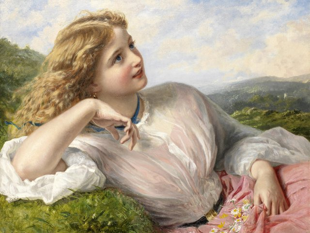 Spring Fascination The Song of the Lark by Sophie Anderson - The fascination of the spring, reflected in the face of a beautiful Victorian girl, who listens 'The Song of the Lark', an oil painting on canvas (private collection), nearly like a photographic image, by Sophie Anderson. Sophie Gengembre Anderson (1823-1903) was a British artist, landscape painter and illustrator, known with her lifelike pictures in Pre-Raphaelite style of painting. - , spring, fascination, song, lark, larks, Sophie, Anderson, art, arts, face, faces, beautiful, Victorian, gir, girls, oil, painting, paintings, canvas, private, collection, collections, photographic, image, images, Gengembre, 1823, 1903, British, artist, artists, landscape, painter, painters, illustrator, illustrators, lifelike, pictures, picture, Pre-Raphaelite, style, styles - The fascination of the spring, reflected in the face of a beautiful Victorian girl, who listens 'The Song of the Lark', an oil painting on canvas (private collection), nearly like a photographic image, by Sophie Anderson. Sophie Gengembre Anderson (1823-1903) was a British artist, landscape painter and illustrator, known with her lifelike pictures in Pre-Raphaelite style of painting. Solve free online Spring Fascination The Song of the Lark by Sophie Anderson puzzle games or send Spring Fascination The Song of the Lark by Sophie Anderson puzzle game greeting ecards  from puzzles-games.eu.. Spring Fascination The Song of the Lark by Sophie Anderson puzzle, puzzles, puzzles games, puzzles-games.eu, puzzle games, online puzzle games, free puzzle games, free online puzzle games, Spring Fascination The Song of the Lark by Sophie Anderson free puzzle game, Spring Fascination The Song of the Lark by Sophie Anderson online puzzle game, jigsaw puzzles, Spring Fascination The Song of the Lark by Sophie Anderson jigsaw puzzle, jigsaw puzzle games, jigsaw puzzles games, Spring Fascination The Song of the Lark by Sophie Anderson puzzle game ecard, puzzles games ecards, Spring Fascination The Song of the Lark by Sophie Anderson puzzle game greeting ecard