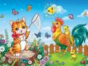 Cat and Rooster in the Yard by Aniel-AK on DeviantArt
